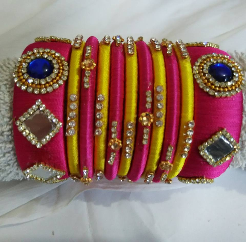 silk red designer and designed orange buy multicolored thread in bangles blue products bridal