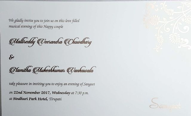 Actress Namitha and Veer Sangeeth and Wedding Details, Invitation Card Pic