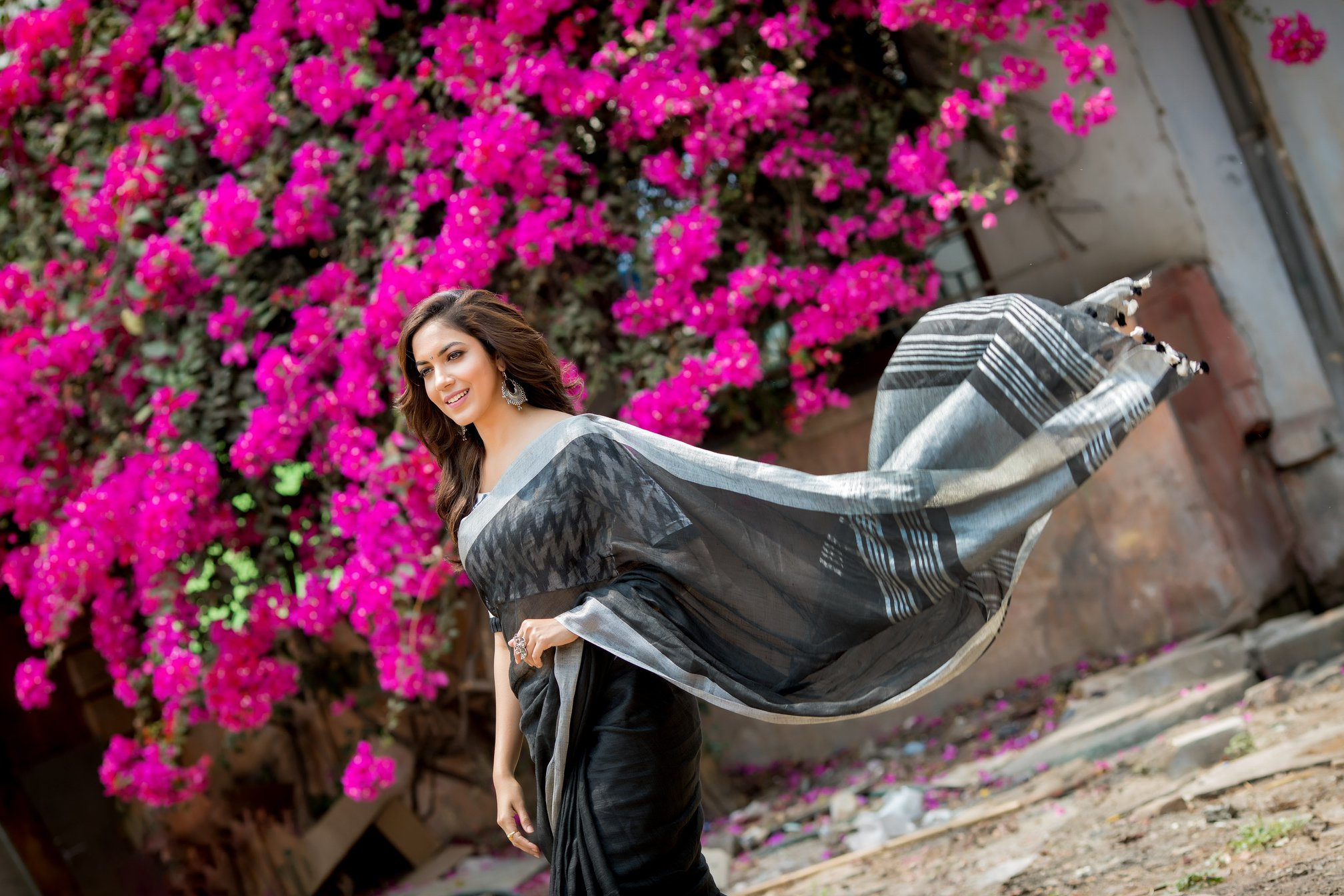 Ritu Varma Black Saree Photos