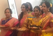 Laya daughter Shloka Half Saree Function Photos
