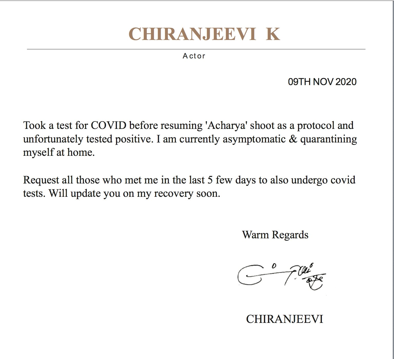 Chiranjeevi Tests Positive for Covid-19